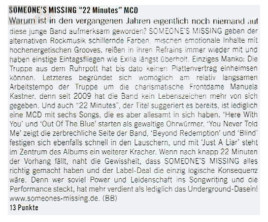 CD Review Someone's Missing Legacy Magazine